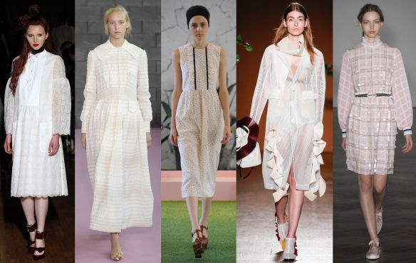 Слева направо: Giles, Emilia Wickstead, Orla Kiely, Toga, Mother of Pearl