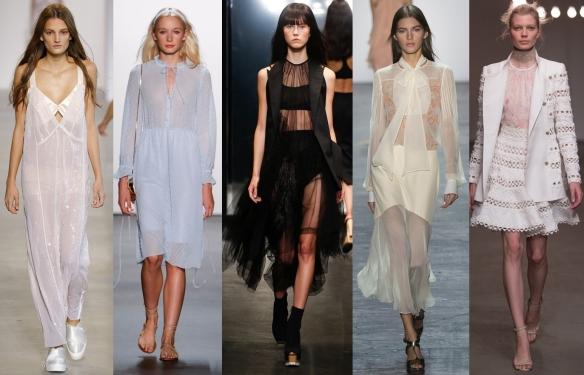 Слева направо: Calvin Klein, Erin Fetherston,Vera Wang. Prabal Gurung, Zimmermann