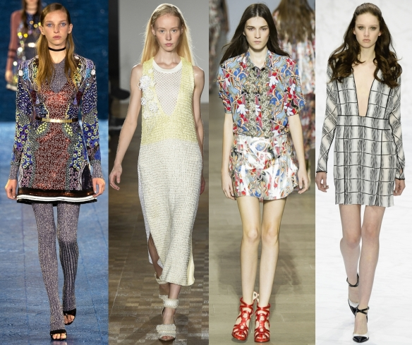 Слева направо: Mary Katrantzou, Pringle of Scotland, Antonio Berardi, Daks