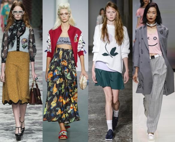 Слева направо: Gucci, Stella Jean, Arthur Arbesser,  Emporio Armani