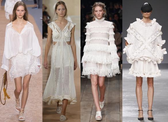 Слева направо: Chloe, Balenciaga, Alexander McQueen, Anrealage