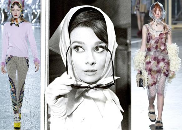Слева направо: Mary Katrantzou, Audrey Hepburn, Christopher Kane